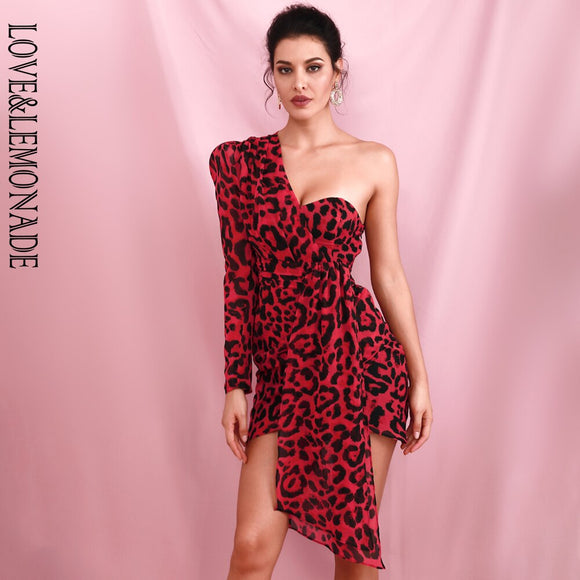 Sexy Red Leopard One Shoulder Puff Sleeve