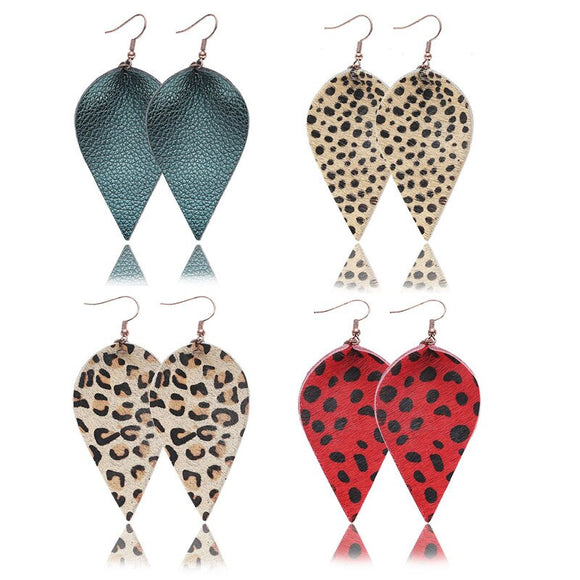 Red Leopard Print Petal Dangle Earrings for Girls/Women Gifts
