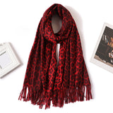 Red Leopard women cashmere Scarf