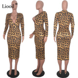Red Leopard Print Sexy Midi Dress Women 2019 Fall Winter Long S