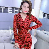 Multicolor Sexy V Neck Party Red Leopard Print Cami Long Sleeve Pencil Skinny Club Dress Autumn Night Out Women Dresses S XL