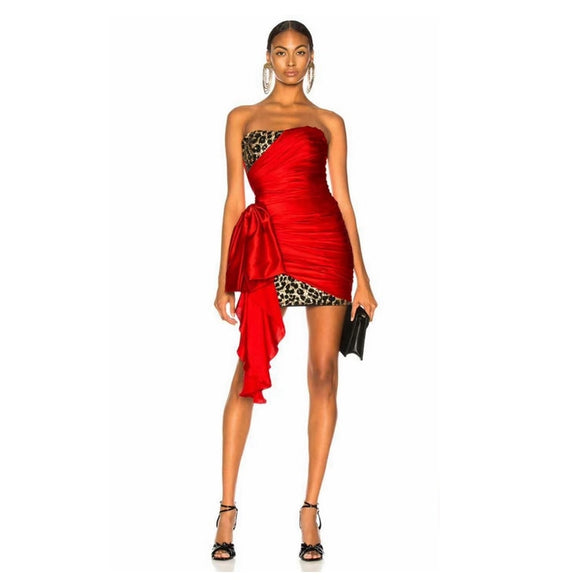 New Summer Dress 2020 Sexy Off Shoulder Leopard Dress Red Satin Strapless Elegant
