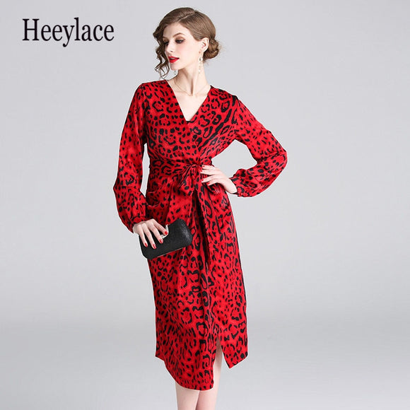 Red Leopard Dress Vetement Femme 2019 Woman Long Sleeve V neck Midi