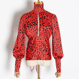 Red Leopard Shirt Turtleneck Lantern Long Sleeve Backless Hollow Out Blouses
