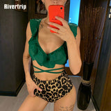 Red Ruffle Bikini High Waist Swimsuit New Leopard Bathing Suit Women Push Up Beach Wear Sexy Brazilian Biquini 2019