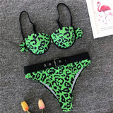 Sexy Red Leopard Print Bikini With Push Up Swimsuit For Women