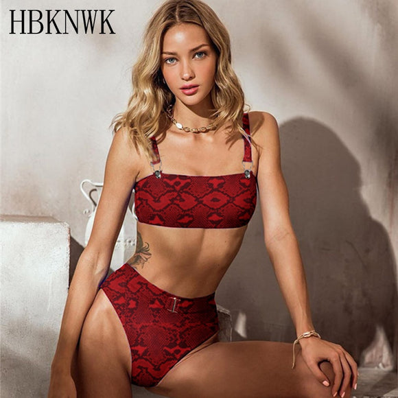 Sexy Red Leopard High Waist Strap Swimsuit