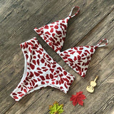 Red Leopard Print High Waisted Swimsuit Push Up Women's Beach