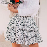 Sollinarry Red Ruffles Leopard Autumn Winter Skirts