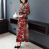 Spring and Autumn Stand Collar Long Sleeve Red Leopard Print