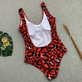 Red Women Leopard One Piece Swimsuit Body Suits Push Up Swimwear Women Brazilian Beach Bathing Suit Swim Wear
