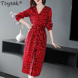 Red Leopard Dress Women Sexy V Neck Dress