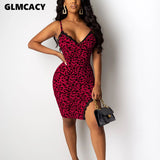 Red Leopard Women Spaghetti Strap Lace