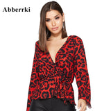 Womens Tops and Blouses Sexy V neck Red Leopard Print Long Sleeve Shirt Party Streetwear
