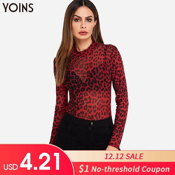 Red Leopard Print Blouses Shirts 2019 Spring Autumn Mesh See through Long Sleeve Blusas Tops Sexy Bodycon Pullovers