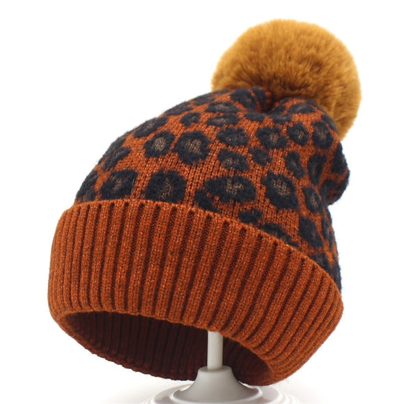 Adult/Kids Red Leopard Winter Hats