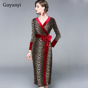 Red Velvet Leopard Dress Casual Women's 2019 Spring Autumn Attending Event Party Dress