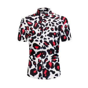Red leopard Men Shirt Summer Style