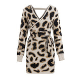 Sexy V neck Leopard Knitted Women Sweater Dress Red Slim Wrap Dress Autumn Winter