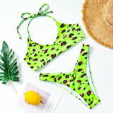 Red Leopard Bikini High Cut Swimwear Women Halter Low Waist Swimsuit