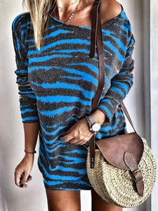 Red Leopard Casual Loose Dress Colors Spring Winter Full Long Sleeve Befree Mini Dress