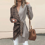 Women V Neck Long Sleeve Red Leopard Print Contrast Color Knotted Jacket Casual Suit