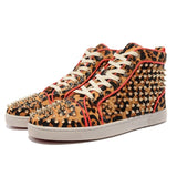 Red Leopard High Top Designer Mens Red Bottom Sneakers