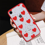 Sequins Glitter Leopard Red Case For iPhone 8 plus 6 6s plus 7 plus Cover For iPhone XS XR XS Max X Phone Bags coque capa