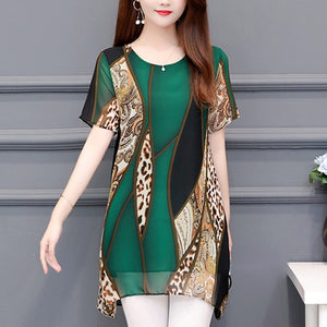 New Fashion Womens Tops and Blouses Plus Size 4XL 5XL Chiffon Red Women's Clothing O neck Leoard Print Feminine Tops Blusas on AliExpress
