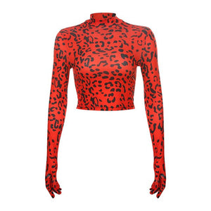 Red Leoaprd Long Sleeve T Shirt Women Harajuku Leopard Red Cropped T shirt