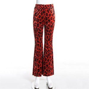 Autumn Women Flare Pants Leopard Flared Trousers High Waist Red Pants 2019