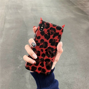 Leopard devil horn phone case for iphone Xs Max /XS/XR tpu 7/8 6/6S 7/8plus(Red/brown)