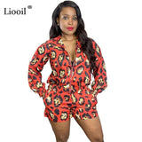 Liooil Red Leopard Print Two Piece Outfits Set