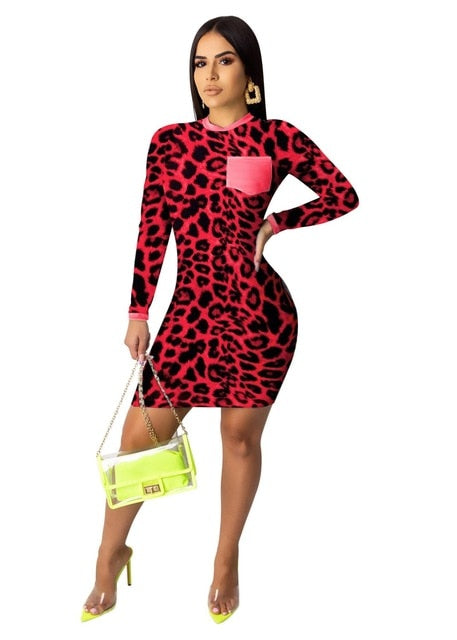 Sexy leopard long sleeve mini dress with pockets autumn winter green blue red