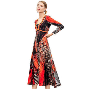 Red Leopard Silk Spring Dress Sexy V Neck 2019