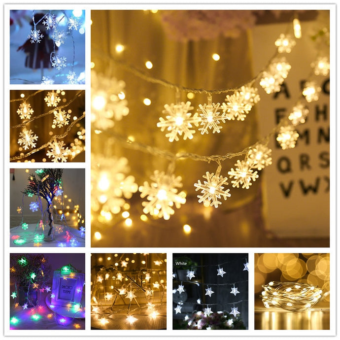 LED Snowflakes and Stars String Lights-Lights-Discounted Holidays