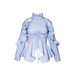 Ruffled Baby Blue Blouse - SVH Official