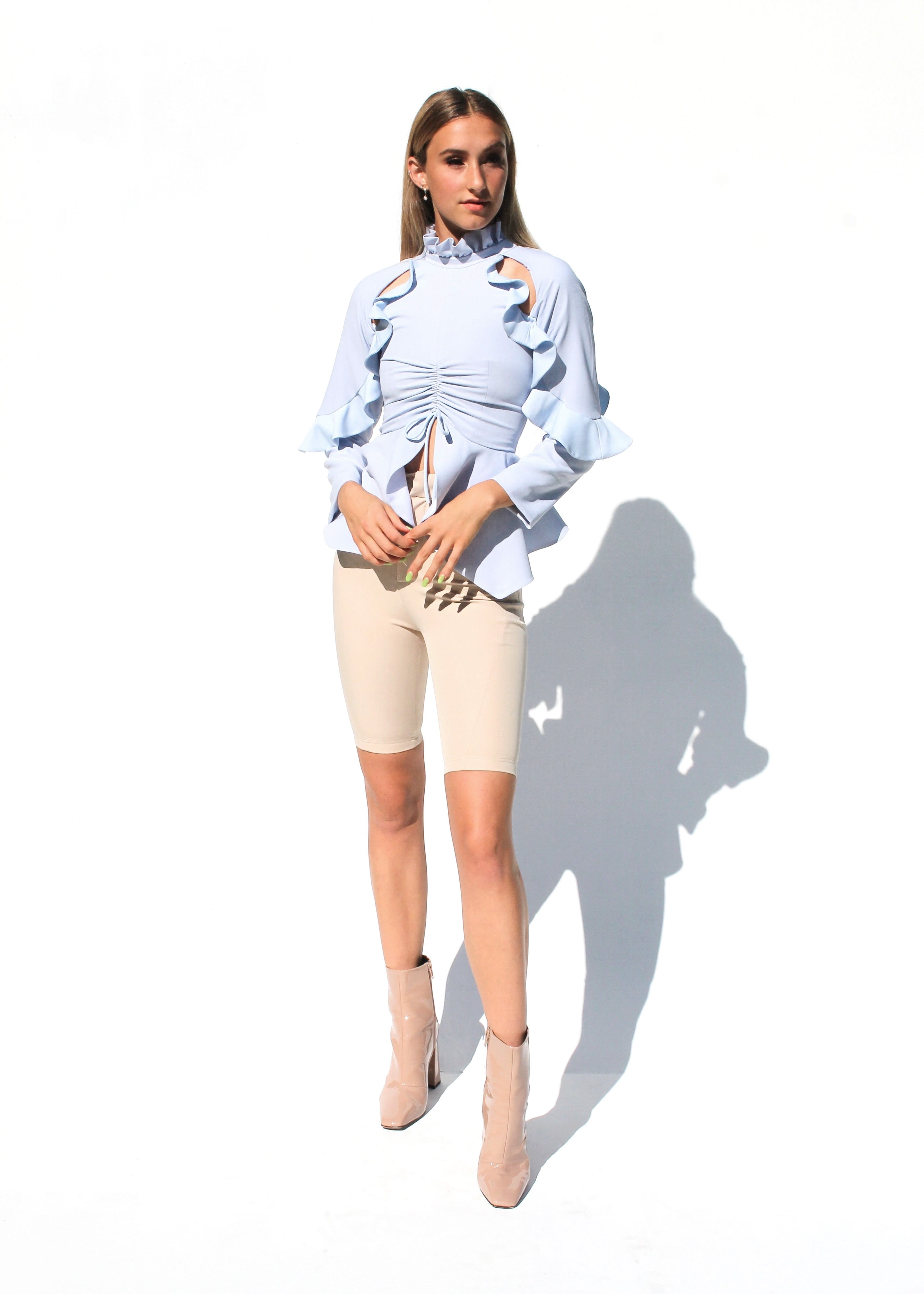 Ruffled Baby Blue Blouse