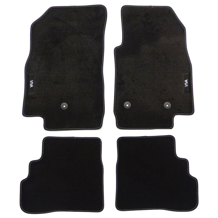 Viva Velour Car Mats - (2014-) - Black with Stitched Edges