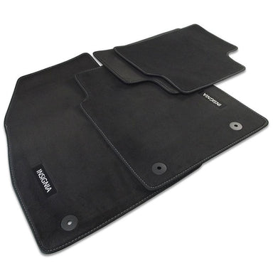 Insignia B Velour Car Mats - (2017-) - Black with Stitched Edges