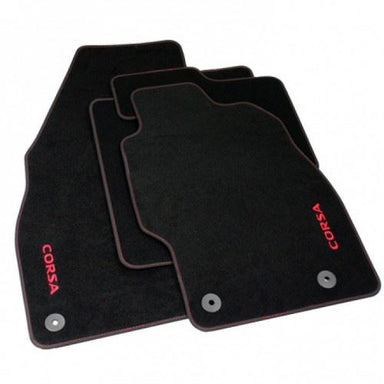 Corsa E Velour Carpet Mats - Black & Red