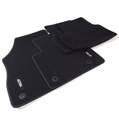 Astra K Velour Car Mats - (2016-) - Black with Stitched Edges