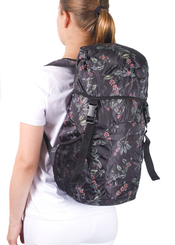 Morral Viajero Plegable Estampado Cafe