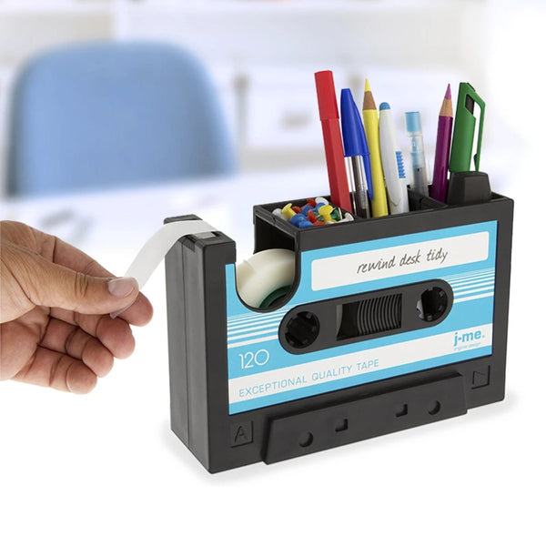 1980s Cassette Tape Dispenser & Pen Holder