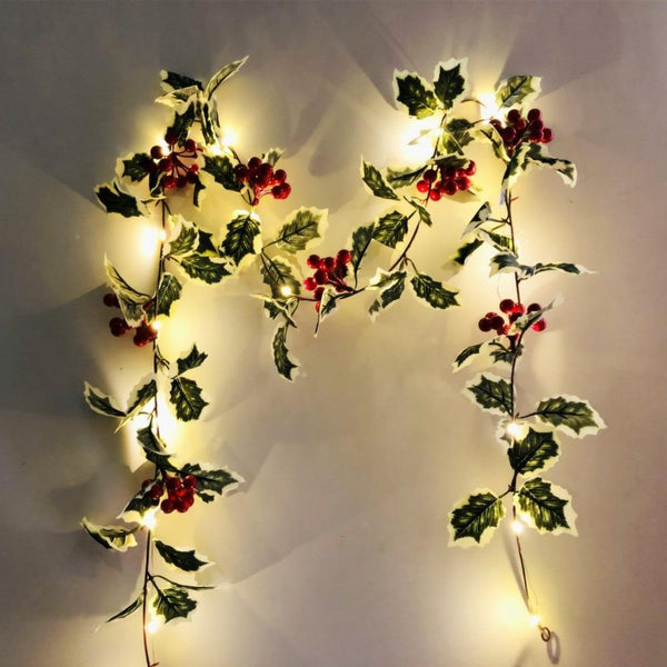 Red Berry Garland LED Lights Decorations