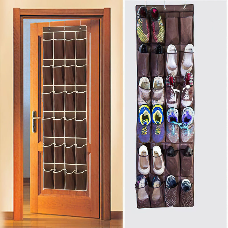 24 Pockets Over The Door Shoes Organizer