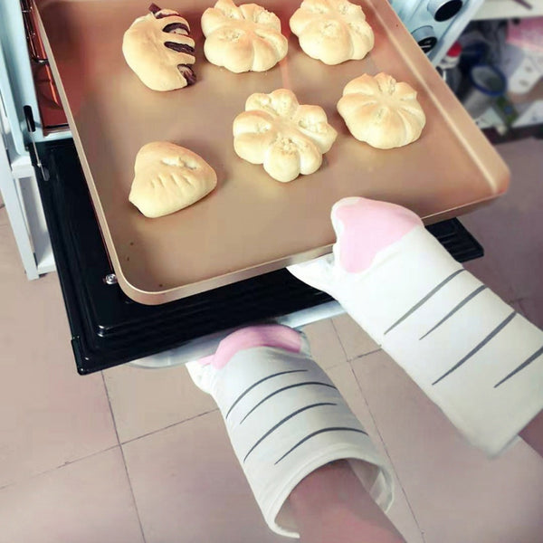 Cute Cartoon Cat Paws Oven Mitts