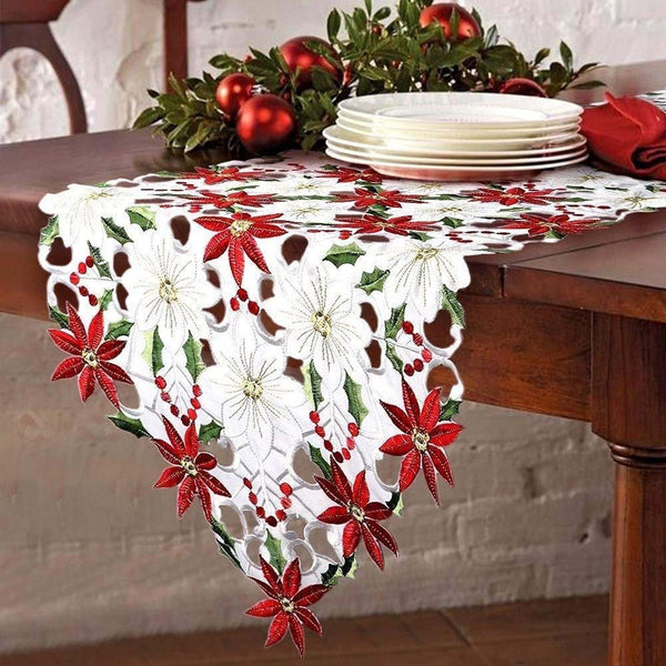 Merry Holly Poinsettia Table Runner