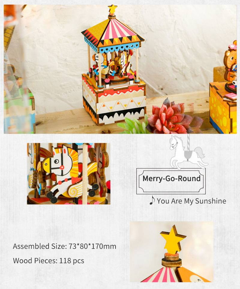 Wonderful World DIY 3D Wood Music Box