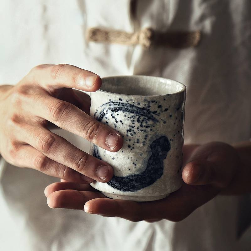 Retro Handpainted Ceramic Tea Cup